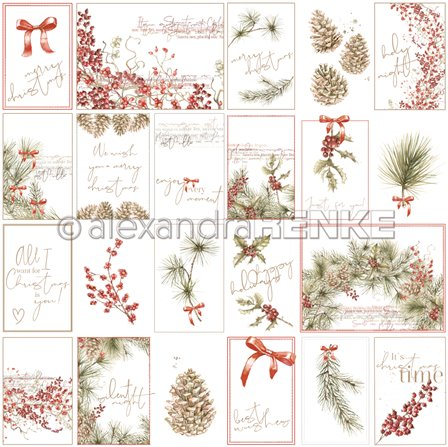 Papier - Card sheet Fir and berries
