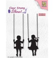 Clear stamp - Boy and girl swinging
