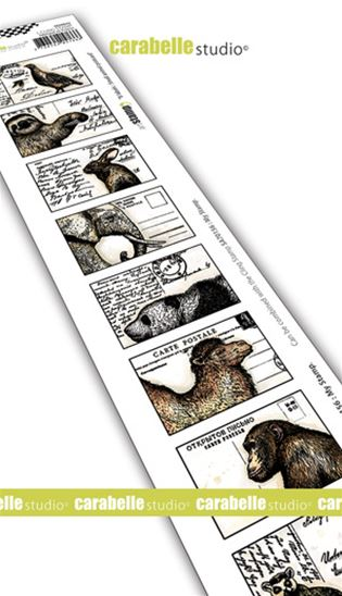 Cling Stamp - 8 labels - Small animals postcard