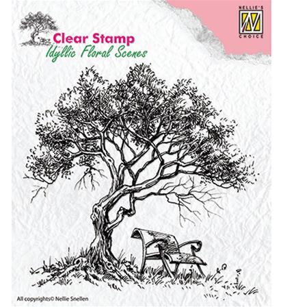 Clear stamp - Tree with bench