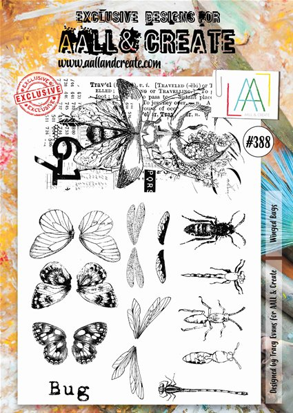 Clear stamp-A4-#388-Winged Bugs
