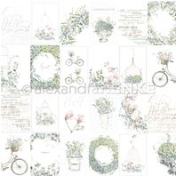 Papier - Card sheet blue flower arrangements