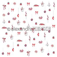 Papier - Xmas - Floral Christmas red mini rapport