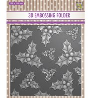 3D embossing Folder - Holly leaves with berries