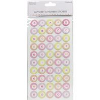 Alphabet & numbers Stickers - Chipboard - rose