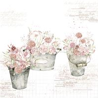Papier - Rose flowers in buckets