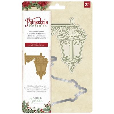 Clear Stamp et die - Ponsettia Perfection - Victorian Lantern