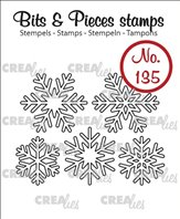 Crealies Clear Stamp - 5x Snowflakes outlie