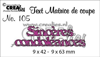 Crealies Text - Sincères condoléances