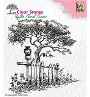 Clear stamp - Tree with fence