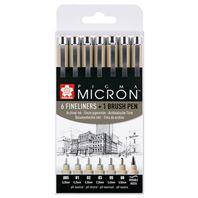 Pigma Micron - 6 stylos fineliners + 1 pinceau