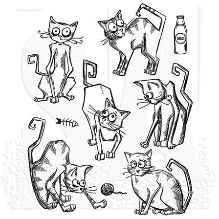 Cling Stamp - Crazy Cats