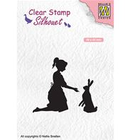Clear stamp - Silhouet - Girl with hare