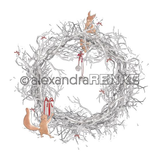 Papier - Xmas - Floral Christmas branch wreath with squirrels