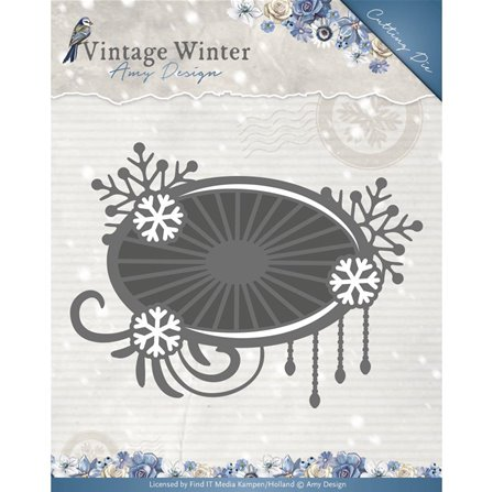 Die - Vintage Winter - Snowflake Swirl Label