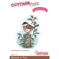 Cottage Cutz - Stamp & Die - Sparrow On Post