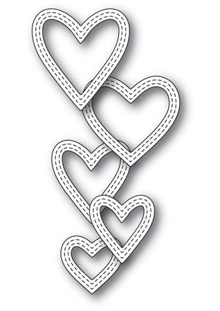 Die - Classic Double Stitched Heart Rings
