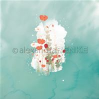 Papier - Memories Floral - Poppy blot on cyan