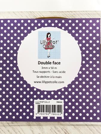 Rouleau double face 3 mm x 50m - Lilly Pot'Colle