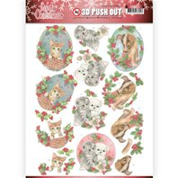 Papier 3D - Lovely Christmas- chiots et chatons
