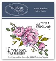 Clear Stamp - Fresh Peonies