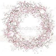 Papier - Cherry blossom wreath with birds